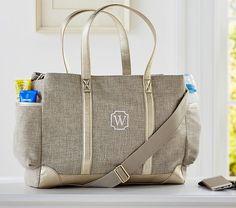Saw this nappy bag at Pottery Barn! Love it because it looks like a regular handbag!