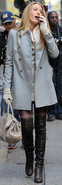 highboots, plaid tights, sweater dress