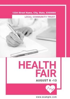A 'health fair event' poster template in pink and white with an image of a person filling out a form.