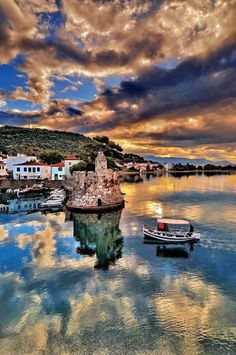 Greece Nafpaktos a town situated on a bay on the north coast of the Gulf of Corinth Dream Vacations, Vacation Spots, Places To Travel, Places To See, Places Around The World, Around The Worlds, Beautiful World, Beautiful Places, Beautiful Sky