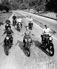 .vintage. girls. motorcycle. black and white