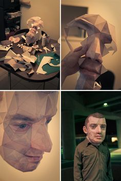 paper-craft self portrait by Eric Testroete. Interesting/terrifying. Imagine a city populated with people who looked like this- I guess it would be a bit like Grand Theft Auto...