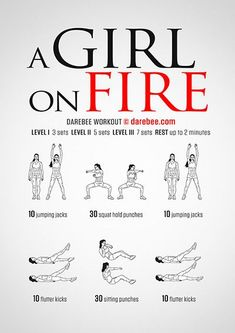 Girl on Fire free workout by Darebee - Healty fitness home cleaning Fitness Workout For Women, Fitness Tips, Health Fitness, Band Workout, Kickboxing Workout, At Home Workout Plan, At Home Workouts, Workout Plans, Easy Daily Workouts