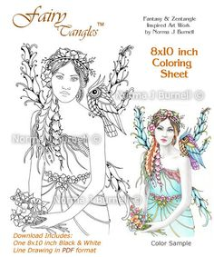 May - Spring Lady Fairy - Fairy Tangles Coloring Sheet Fairies Owls Digi Coloring Page by Norma J Burnell 8x10 Coloring Sheet