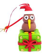This Clay Kiwi on Gift Box Xmas Ornament will look fabulous any Christmas tree. The cute decoration measures approximately x 1 Kiwi Bird, Kiwiana, Xmas Ornaments, Lamb, Christmas Tree, Holiday Decor, Box, Cute, How To Make