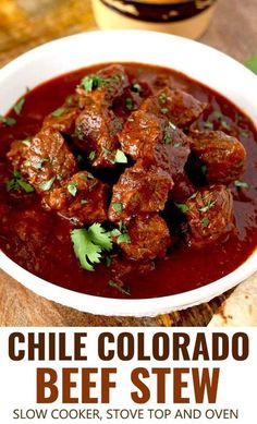 This Chile Colorado beef stew is rich, hearty and lip-smacking good! Beef stew m. This Chile Colorado beef stew is rich, hearty and lip-smacking good! Beef stew meat simmered in a Mexican style red Stew Meat Recipes, Mexican Food Recipes, Elk Recipes, Red Chili Recipe Mexican, Chili Con Carne Recipe Best, Chili Recipe Stew Meat, Chile Recipes Beef, Slow Cooker Recipes Mexican, Stewing Beef Recipes