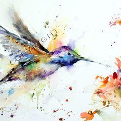 watercolor art, tattoo ideas, hummingbird tattoo, watercolor paintings, watercolour tattoos, watercolor tattoos, a tattoo, print, flower