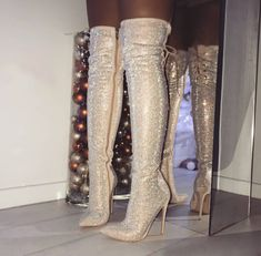 Glitter Bling Women Thigh High Boots Pointed Toe Cross-Tied High Heels Woman Winter Shoes Fashion Mujer Over The Knee Long Boots Thigh High Boots, High Heel Boots, Knee Boots, Heeled Boots, Women's Boots, Botas Sexy, Stilettos, Stiletto Heels, Shoes Heels
