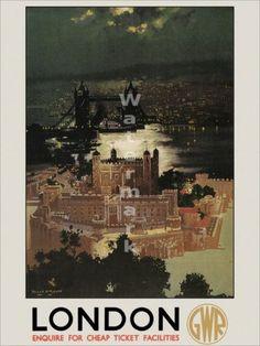 """1Vintage Poster """"Great Western Railway London"""""""