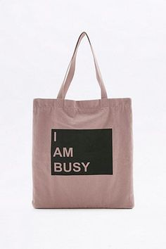I Am Busy Pink Canvas Tote - Urban Outfitters
