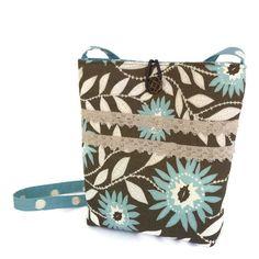 Cross body bag green, crossbody bag floral, cross body purse, crossbody purse grey, Womens handmade handbag floral, blue print tote by BelleEpoqueCreations on Etsy