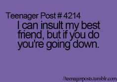 I am not responsible for what happens if you insult her........  She's my best friend. Not your punching bag.