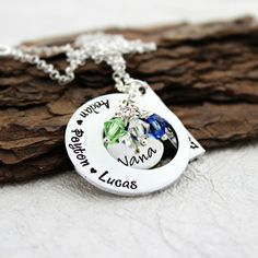 Necklace for Nana Hand Stamped Necklace, Small Heart, Alexandrite, Pink Tourmaline, Aspen, Birthstones, Gifts For Mom, Washer Necklace, Love Her
