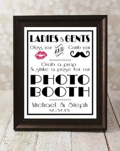 Photo Booth Props 1920's Gatsby Wedding Sign 8 X 10 by OurHobbyToYourHome