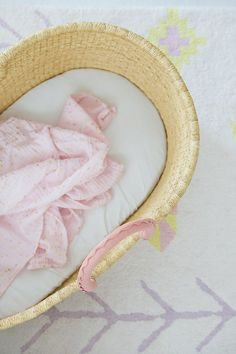 Baby Moses Basket / Natural with Pink Leather Handles Baby Moses, Moses Basket, Pink Leather, Leather Handle, Hand Weaving, Baskets, Elephant, Natural, Pattern