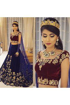 Ethnic Bridal Wear Velvet Lehenga Choli