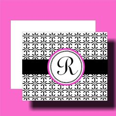 Personalized Monogram Note Cards by PumpkinMoon on Etsy, $7.95 ... like the black and white pattern with a little pop of magenta in the matting of the monogram circle ...