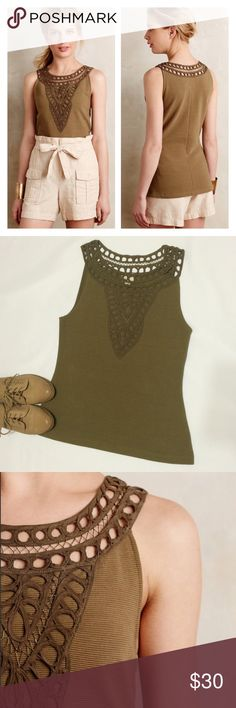 ⚡️Flash Sale Anthropologie Embroidered Fall Tank Like-new, flawless condition embroidered tank by Postmark for Anthro. Olive Green ribbed body w/ intricate embroidered design down front & around the neck. Tag says XS but will fit a small. Pullover styling, very comfortable & does have some stretch. Perfect for going into fall, and looks great layered as well! ***Flash Sale Price is firm, no offers please*** Anthropologie Tops Tank Tops