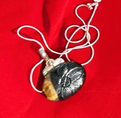 Vintage BOLD Oval Labradorite & Silver Pendant by DebVonVentures