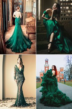 Green, the color of nature, has many different shades. from sophisticated emerald green Emerald Green Gown, Emerald Green Weddings, Emerald Green Dresses, Green Evening Gowns, Evening Dresses, Pretty Outfits, Pretty Dresses, Green Wedding Dresses, Green Fashion