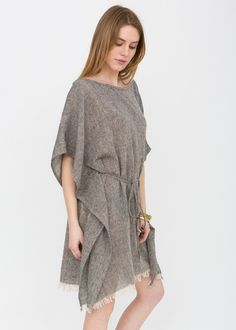 Textured Cotton Boat Neck Kaftan