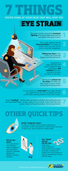 [infographic] Here's a list of 7 things you're doing at your desk that will give you eye strain. Are you guilty of these? Are you guilty of these seven things? Find out which bad habits could be giving you eye strain while in front of the computer. Health Fair, Self Treatment, Healthy Eyes, Eyes Problems, Eye Strain, Alternative Health, All About Eyes, Health And Wellbeing, Cool Eyes