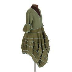 olivation fluidia: olive and aqua reconstructed linen dress, by Secret Lentil