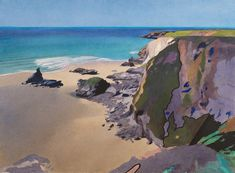 """Bob Rudd ~ """"Flat Sea, Bedruthan Steps"""" ~ Watercolour x 29 inches Seascape Paintings, Landscape Paintings, Watercolor Paintings, Landscapes, Watercolour Tips, Watercolours, Beach Landscape, Watercolor Landscape, Abstract Landscape"""
