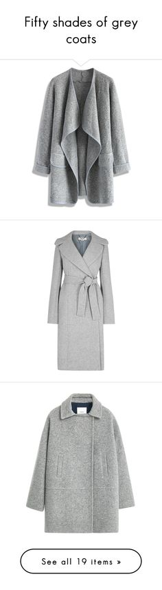 """Fifty shades of grey coats"" by liberty-s ❤ liked on Polyvore featuring outerwear, coats, jackets, cardigans, casacos, grey, gray coat, grey coat, longline coat and long wool blend coat"