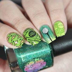 PR Sample I have 5 stamping pates to show you today, they all from Bundle Monster and they all related to sports. I did nail art. Hello Nails, Urban Nails, St Patricks Day Nails, Green Nail Art, Nails Today, Bundle Monster, Nail Stamping Plates, Halloween Nail Art, Nail Arts