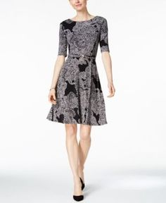 Charter Club Paisley-Print Fit & Flare Dress, Only at Macy's - Black XL