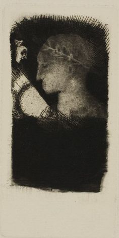 Odilon Redon  French, 1840-1916    Adverse Glory, 1886    Etching and drypoint on ivory laid paper  90 x 45 mm (image); 122 x 60 mm (plate); 353 x 245 mm (sheet)