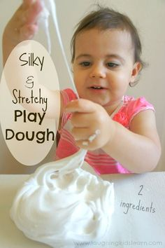 Silky and Stretchy Play Dough for kids 2 ingredients! To make this silky and stretchy play dough you will need 1 cup conditioner (cheaper the better) 2 cups cornflour/cornstarch Glitter (optional) Sensory Activities, Sensory Play, Preschool Activities, Sensory Table, Toddler Fun, Toddler Crafts, Projects For Kids, Crafts For Kids, Kids Learning