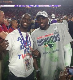 New England Patriots are Super Bowl XLIX Champs; Devin McCourty with his brother Jason