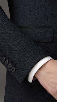 Costume de coupe étroite en laine vierge œil-de-perdrix Travel Tailoring | Burberry