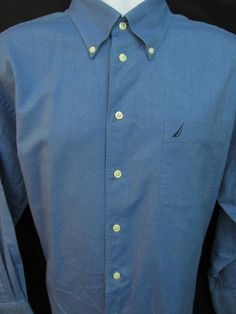 Nautica Mens L Large Blue Shirt 100% Cotton L Sleeve Sail Logo Button Up EUC 236