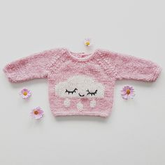 The sweater is knit bottom up, with an intarsia-knit cloud on the body. Do you think intarsia is troublesome? Try this pattern and be amazed by how quick and simple it is. This the sweetest quick-knit sweater you will ever find! Crochet For Kids, Knit Crochet, Ravelry, Intarsia Patterns, Baby Pullover, Quick Knits, Rain Clouds, Short Models, Baby Makes