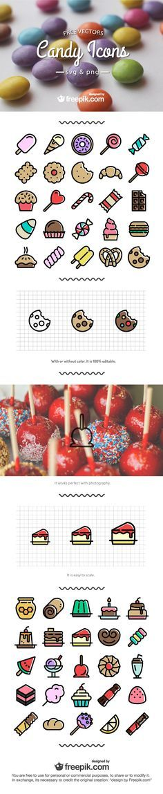 Free Candy Icons in PNG & SVG Format. Click here to get free web design training videos instantly at http://www.mywebdesignschool.com/pinterest-special.html