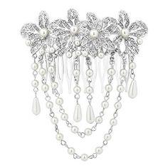 silver pearl flower vintage style tassel hair comb wedding bridal hair accessories
