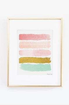 Pink, Gold, & Seafoam Green Paint Strokes Digital Print