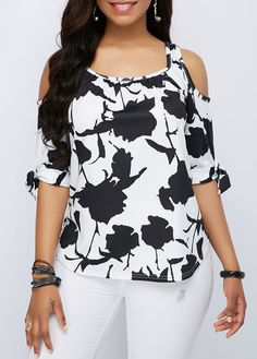 Cheap white Tops online for sale Casual Wear, Casual Outfits, Cute Outfits, Summer Outfits, Cold Shoulder Bluse, Fashion Pants, Fashion Outfits, Trendy Tops For Women, Pants For Women