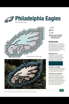 Eagles ornament made pattern Plastic Canvas Ornaments, Plastic Canvas Tissue Boxes, Plastic Canvas Christmas, Plastic Canvas Crafts, Plastic Canvas Patterns, Christmas Ornaments, Christmas Ideas, Football Crafts, Nfl Football