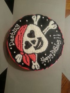 Skull and crossbones birthday cake