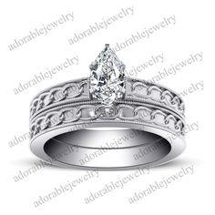 14K White Gold Plated .925 Sterling Marquise Shape White Diamond Bridal Ring Set #adorablejewelry #AnniversaryEngagementWedding