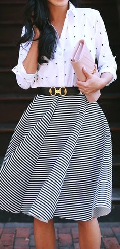 Cute professional outfit idea: A whimsical dots & stripes combination. Take it to the level of a creative pro by mixing in unexpected color combos and on-point accessories.