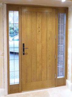 Cottage Door Sidelights - Bespoke Doors and Windows Barn Door In House, Cottage Door, House Front, Wood Front Doors, Oak Doors, Porch Doors, Windows And Doors, Entry Doors, Cheap Internal Doors