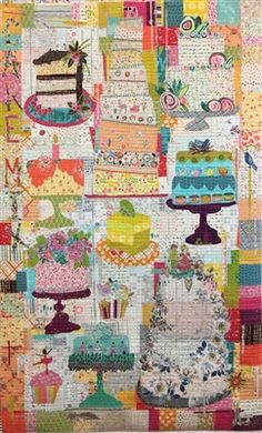 Cake Mix Collage Quilt Pattern by Laura Heine Patchwork Quilt Patterns, Quilt Patterns Free, Applique Quilts, Crazy Patchwork, Block Patterns, Quilting Projects, Quilting Designs, Quilting Ideas, Quilting Templates