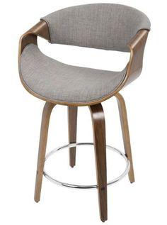 "Wood Counter Height Bar Stool Kitchen 24"" Swivel Chair Island Mid Century Modern #LumiSource #MidCenturyModernContemporary"