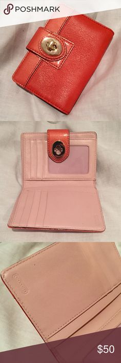 BOGO! Coach Turnlock Wallet Coach Coral Turnlock Medium Wallet. Never used BUT slight damage: a back corner slid out of the dust cove when I pulled it from my closet & it faded due to prolonged sunlight. Can be fixed w/ leather color cream. Matches Bag no. K0967-4353, which I am keeping for now, but if you really want the set, feel free to make me an offer 😜 Coach Bags Wallets