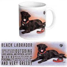 Koffie mok zwarte Labrador. Een lekker grote koffie- of thee mok met de afbeelding van een zwarte Labrador. Inhoud: ruim 300 ml. Materiaal: keramiek.